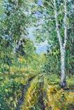 路在夏天森林,油画里 图库摄影