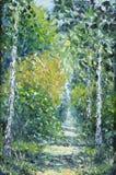路在夏天森林,油画里 库存照片