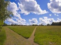 路在夏天草甸 库存图片