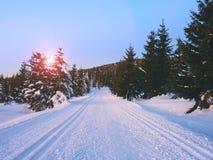 路在新鲜的雪下 在山的越野足迹 库存照片