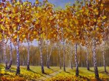 路在桦树树丛里,下落的秋叶 免版税库存图片