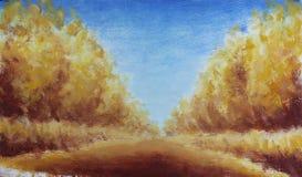 路在秋天公园,油画 库存照片