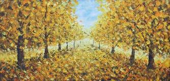 路在秋天公园,油画 免版税库存图片
