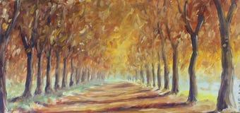 路在秋天森林里,油画 库存图片