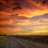 路在草甸 库存图片