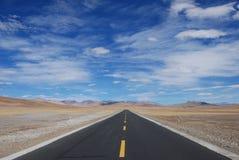 路在西藏 库存照片