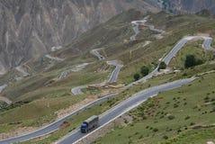 路在西藏 库存图片