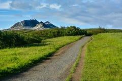 路在Svartifoss瀑布黑色的Skaftafell国家公园 免版税库存图片