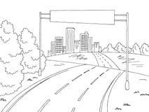 路城市图表黑白色风景广告牌剪影例证传染媒介 库存照片