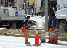 路工作者在蓬塔阿雷纳斯 库存照片