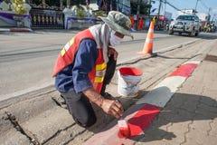 路工作者油漆边界 库存照片