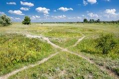 路径干草原 库存图片