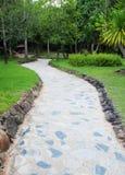 路径穿过一个绿色庭院 免版税库存图片