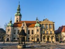 路德教会和城镇厅 库存照片