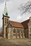 路德教会在Georgsmarienhuette,福音派信义会从1877,新哥特式样式教会在德国 图库摄影