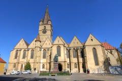 路德教会的大教堂在锡比乌,罗马尼亚 免版税库存照片
