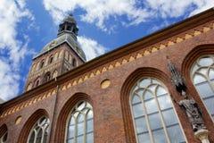 路德教会的大教堂看法在里加 库存图片