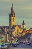 路德教会的大教堂,锡比乌,罗马尼亚 库存图片