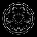 路德玫瑰银基督教教会成员标志 库存例证