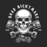 路恶梦 有横渡的活塞的人的头骨 设计商标的,标签,象征,标志, T恤杉印刷品元素 免版税库存图片