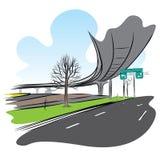 路在天桥天空火车桥梁下 免版税库存图片