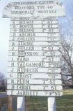路旁签到Springdale, MT 免版税库存图片