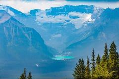 路易丝湖aberta西部加拿大鸟瞰图 免版税图库摄影