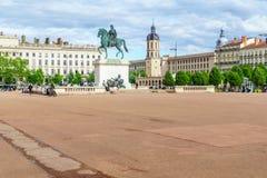 路易十四,到位Bellecour广场雕象,在利昂 免版税库存图片