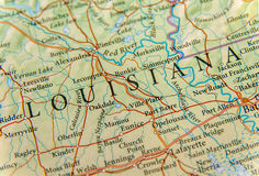 路易斯安那关闭地理地图  免版税库存图片