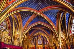 路易斯第9纪念品彩色玻璃更低的教堂Sainte Chapelle Pa 免版税图库摄影