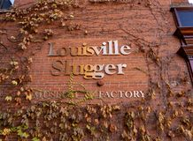 路易斯维尔重击手棒球棒在家 免版税库存图片