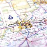 路易斯维尔地图 免版税库存照片