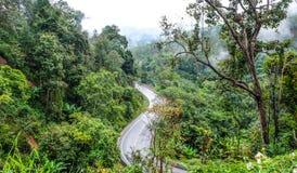 路曲线在山的在泰国 免版税库存照片