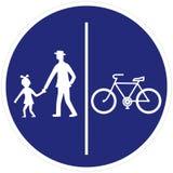 路标、步行者和自行车骑士路标步行者和自行车骑士 库存例证