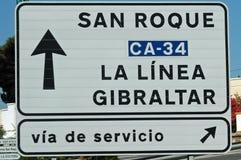 路标向从西班牙的直布罗陀 库存图片