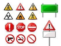 路标和三角警告道路危险标志 免版税库存照片