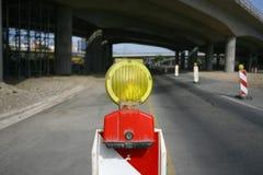 路标在重建的一条高速公路 库存图片