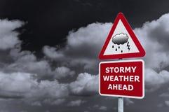 路标多暴风雨的天气 库存照片
