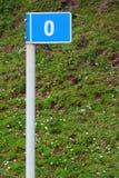 路标指示的零的英里-路线的开始 免版税库存照片