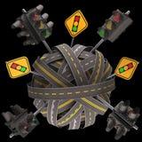 路标红绿灯 向量例证