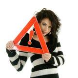 路标警告妇女 库存图片