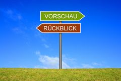 路标陈列预览和回顾德语 免版税库存照片