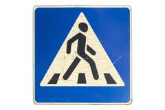 路标`与在白色隔绝的镇压的行人交叉路` 库存例证