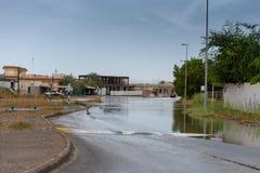 路洪水在阿拉伯联合酋长国 免版税库存照片