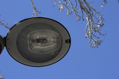 路灯柱在公园 库存照片