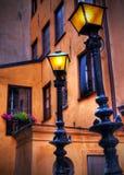 路灯柱老城镇 库存图片