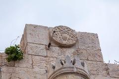 路牌雅法门在耶路撒冷旧城,耶路撒冷 库存图片