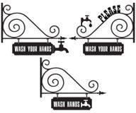 路牌洗涤您的手 向量例证