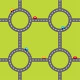 路白色标号和动画片汽车 圈子圆的交叉路集合 模板 设计要素例证图象向量 绿草背景 平的设计 库存图片