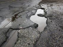 路的大坑洼 免版税库存照片